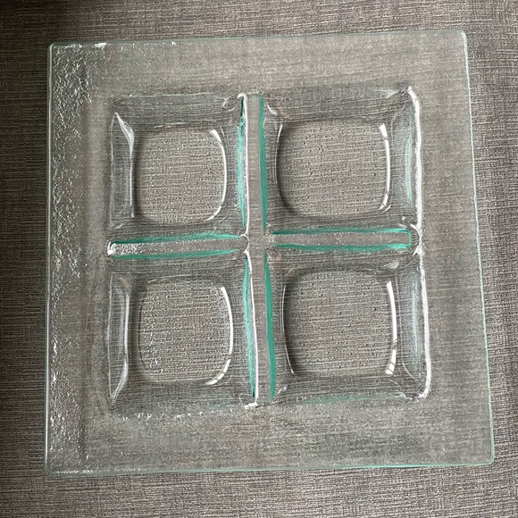 Recycled glass 4 part divided square dish/platter